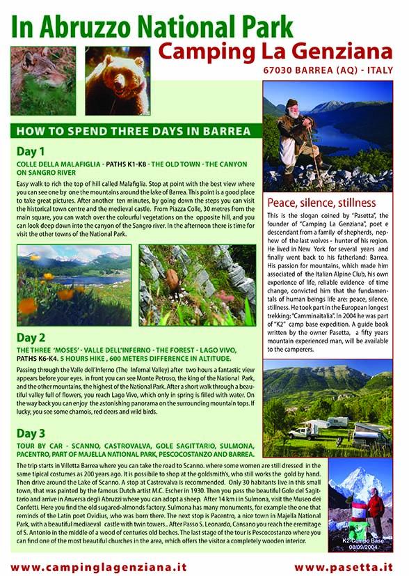 Programma del camping in inglese