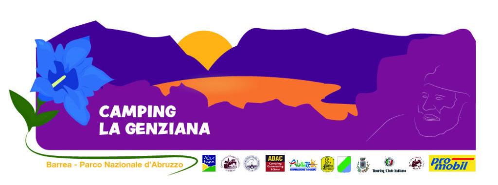 Una illustrazione con due montagne viola davanti a un grande sole giallo. Affacciano su un lago arancione e in primo piano il logo del camping La Genziana, una genziana blu