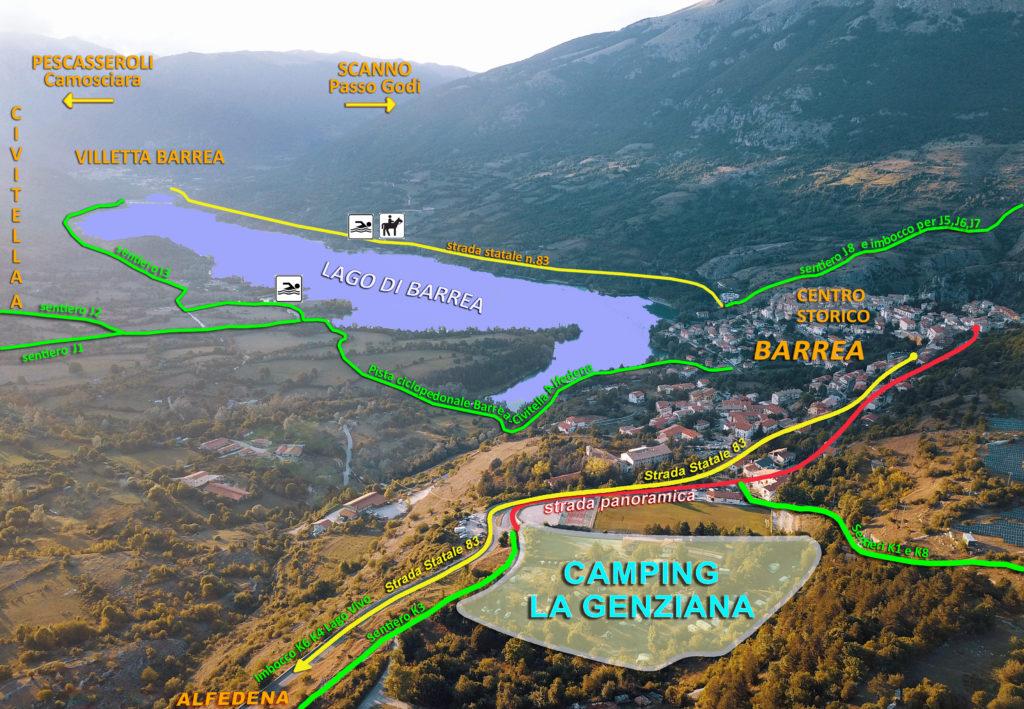 Vista aerea della zona intorno al camping la genziana con strade tracciate